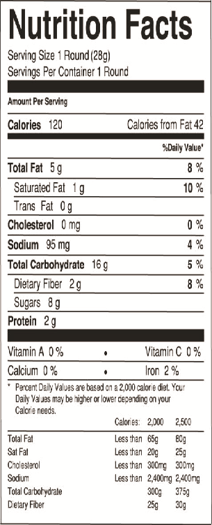 Nutrition Info - Oatmeal Raisin Walnut Omega Rounds